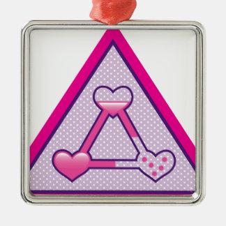 Love Triangle vector artwork Silver-Colored Square Ornament