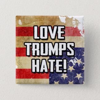 Love Trumps Hate 2 Inch Square Button