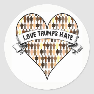 Love Trumps Hate Classic Round Sticker
