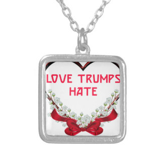 love trumps hate donald gift t shirt silver plated necklace