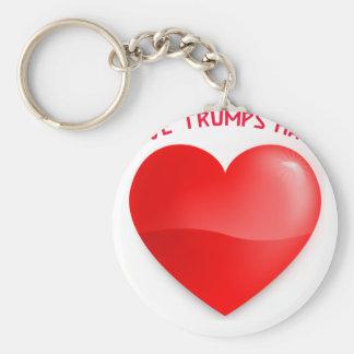 love trumps hate keychain
