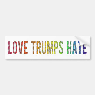 Love Trumps Hate-Rainbow Letters-White Background Bumper Sticker