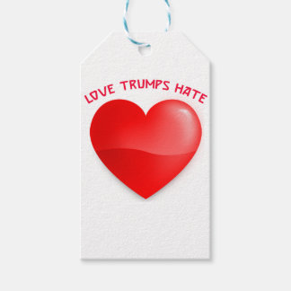 love trumps hate, red heard donald gift t shirt gift tags