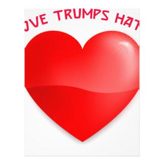 love trumps hate, red heard donald gift t shirt letterhead