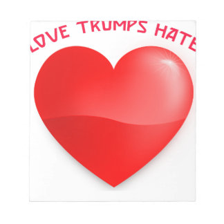 love trumps hate, red heard donald gift t shirt notepad