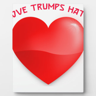 love trumps hate, red heard donald gift t shirt plaque