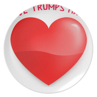 love trumps hate, red heard donald gift t shirt plate