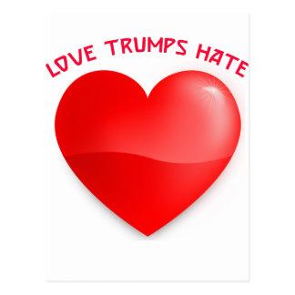 love trumps hate, red heard donald gift t shirt postcard
