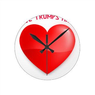 love trumps hate, red heard donald gift t shirt round clock