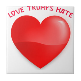 love trumps hate, red heard donald gift t shirt tile