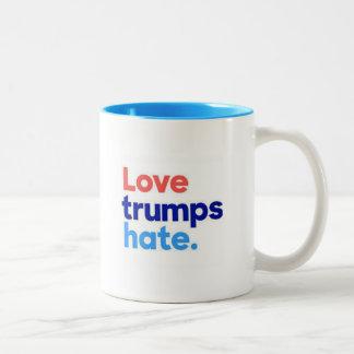 Love Trumps Hate Two-Tone Coffee Mug