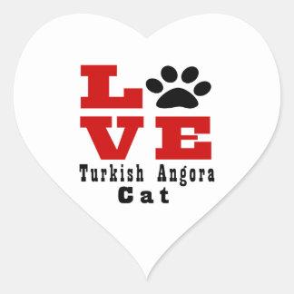 Love Turkish Angora Cat Designes Heart Sticker