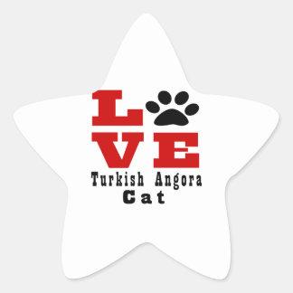Love Turkish Angora Cat Designes Star Sticker