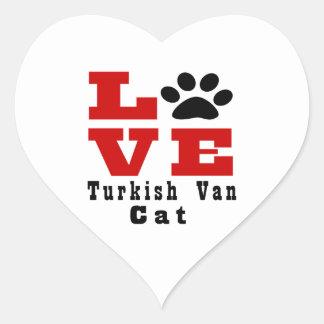 Love Turkish Van Cat Designes Heart Sticker