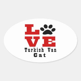 Love Turkish Van Cat Designes Oval Sticker
