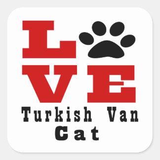 Love Turkish Van Cat Designes Square Sticker