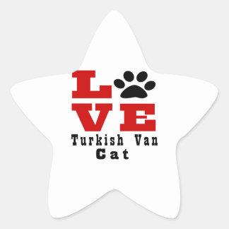 Love Turkish Van Cat Designes Star Sticker