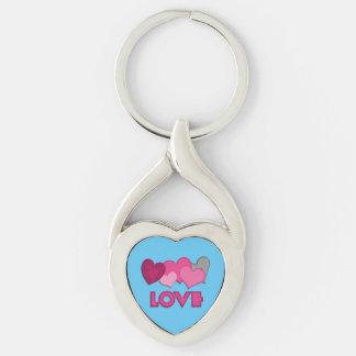 Love Twisted Heart Metal Keychain