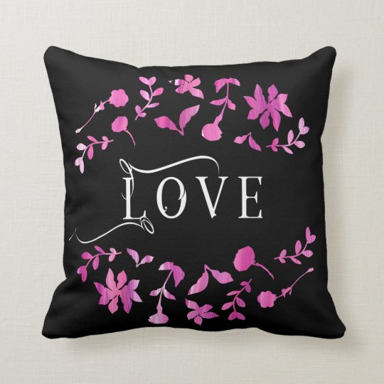 Love Typography Floral Wreath Throw Pillow