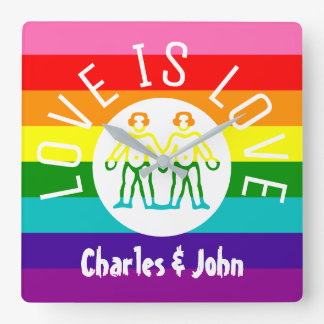 Love Typography Gay Couple Pride LGBT Rainbow Logo Square Wall Clock