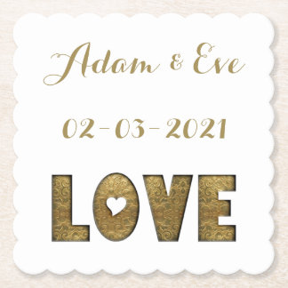 Love Typography Gold Elegant Wedding Engagement Paper Coaster