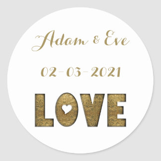 Love Typography Gold Elegant Wedding Engagement Round Sticker