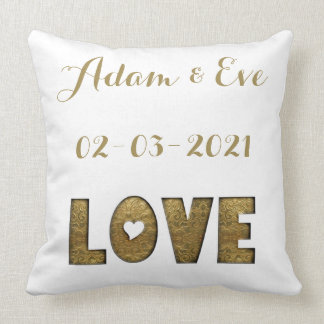 Love Typography Gold Elegant Wedding Engagement Throw Pillow