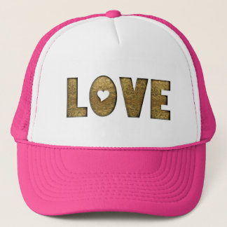 Love Typography Heart Gold Text Trucker Hat