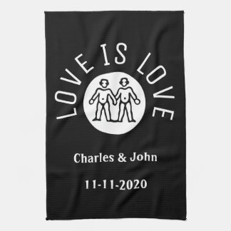 Love Typography Lesbian Gay Pride LGBT Black White Kitchen Towel