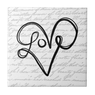 Love Typography Text Art Ceramic Tiles