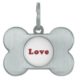 Love Typography Text Word Pet Tag