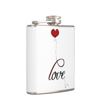 """""""Love"""" Typography with Red Heart Balloon Hip Flask"""