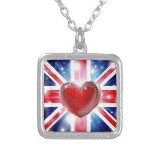 Love UK flag heart background Silver Plated Necklace