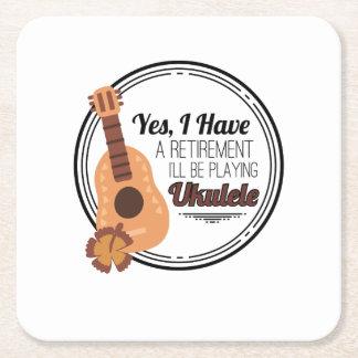 Love Ukelele Uke Music Lover Funny Gift Square Paper Coaster