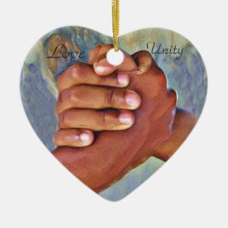 Love,Unity,Peace_ Ceramic Heart Ornament