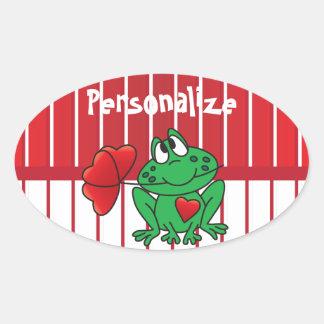 Love Valentine Frog Oval Sticker