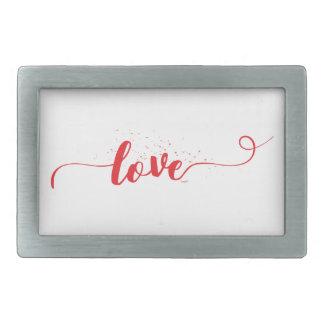 Love-Valentine-Swirls Rectangular Belt Buckle