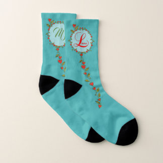 Love Valentine Vine Monogram Socks