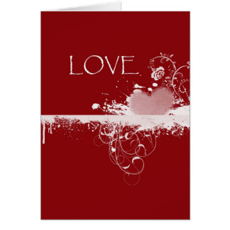LOVE Valentine's Day Red White Heart Gifts Card