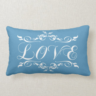 LOVE Vintage Blue Wedding Pillow