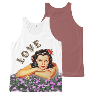 Love Vintage / Retro Girl with Flowers All-Over-Print Tank Top