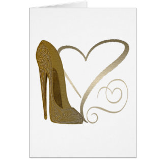 Love Vintage Stiletto Shoe Art and Hearts Card