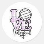 Love Volleyball Round Sticker