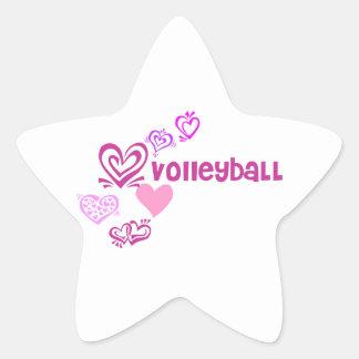 Love Volleyball Star Sticker
