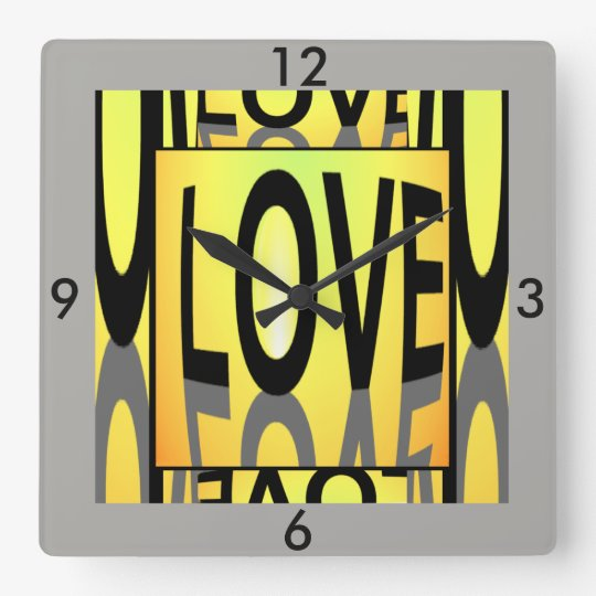 LOVE Wall Clock-Home-Yellow/Gold/Grey/Black Square Wall Clock