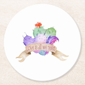 Love Watercolor Cacti Round Paper Coaster