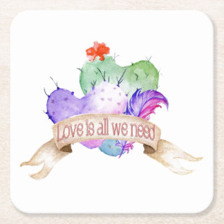 Love Watercolor Cacti Square Paper Coaster