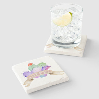 Love Watercolor Cacti Stone Coaster