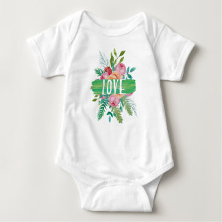 LOVE watercolor hand painted flowers Baby Bodysuit