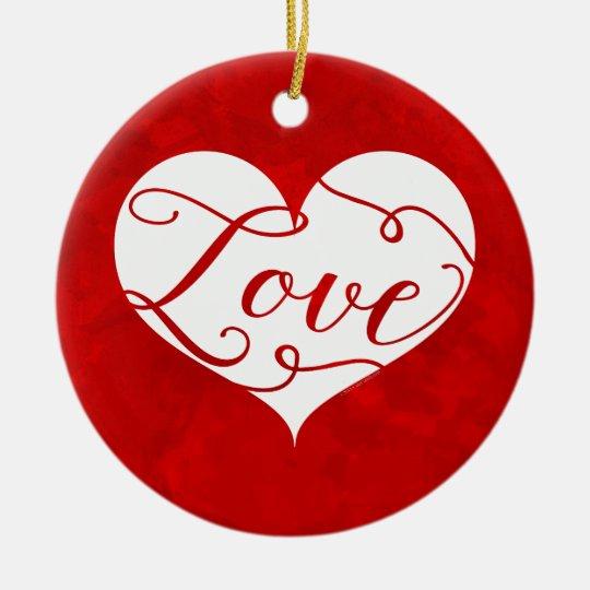 Love Watercolor Red Heart Swirl Valentine's Day Ceramic Ornament